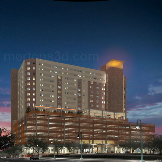 Architectural Rendering of: Callaway House  - Ground View - Night Lit(medium)  Pick for a higher resolution 3d rendering