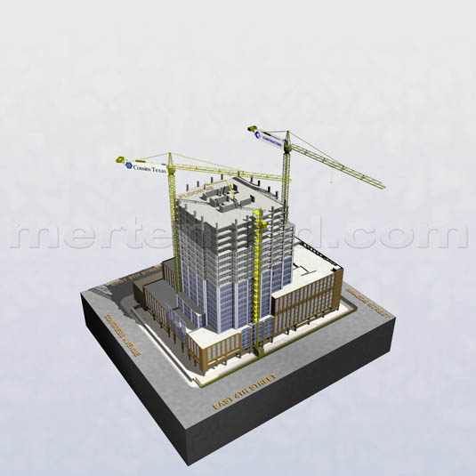 3d Architectural Rendering of: Frost Bank Tower - Mid Construction(medium)  Pick for a higher resolution 3d rendering