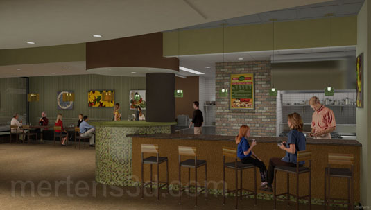 3d Interior Illustration of: Oak Park Restaurant - View A(medium)  Pick for a higher resolution 3d rendering