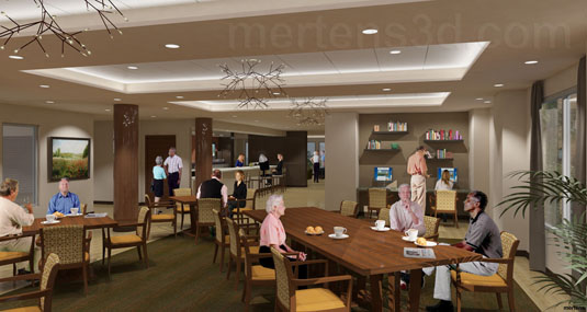 Interior Illustration of: Wind Crest  - Cafe - Bar Area(medium)  Pick for a higher resolution 3d rendering