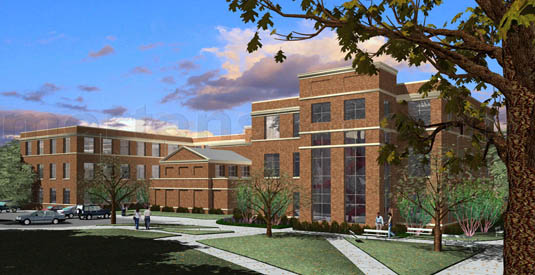 3d Architectural Visualization of: Tarleton State University - Math Building(medium)  Pick for a higher resolution 3d rendering